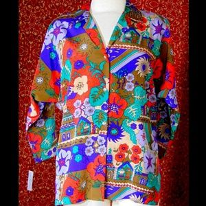 TEDDI of CALIFORNIA VINTAGE floral sleeve blouse M